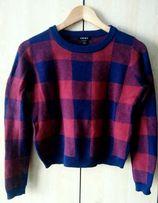 Amisu piękny modny sweterek w kratę ze świecącą nitką 36/S