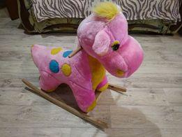 Лошадка качалка качеля мягкая динрзаврик игрушка