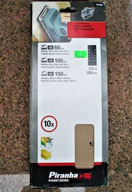 Sand Paper 115 x 280mm sheet - different grits 10 in packet