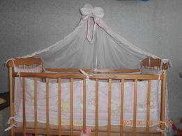 Постельный комплект в детскую кроватку + держатель