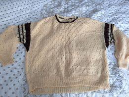 Pastelowy zolty brazowy damski swetr, sweter, bluzka recznie robiony