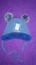 Очень тёплая зимняя шапка для мальчика 40р. 0-3-6 міс