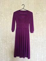 Sukienka Zara, rękaw 3/4, ciemny fiolet, rozmiar S
