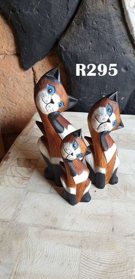 3 Wooden Brown Cats (240mm 205mm 165mm)