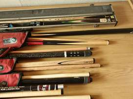 Pool cues for sale.