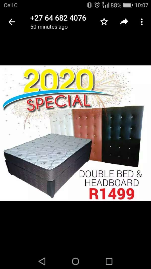 BRAND new double bed with headboard 0