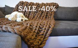 СКИДКА! Плед крупной вязки, одеяло, шерсть мериноса, вязаное покрывало
