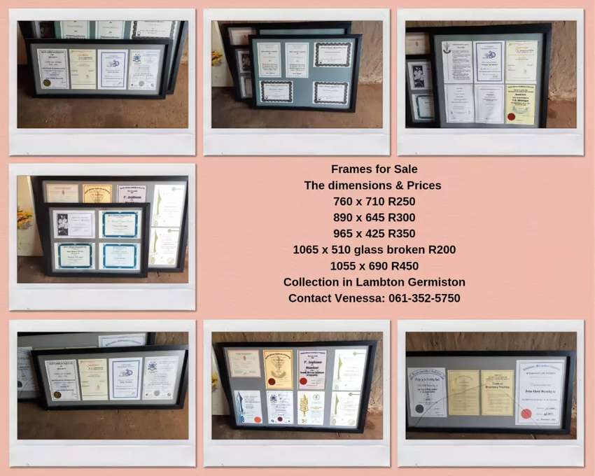 Picture frame or certificate holders
