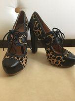 Туфли леопардовые каблук кожа Topshop , р. 38 стелька 24,5 см