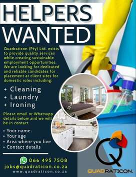 HELPERS WANTED FOR DOMESTIC WORK
