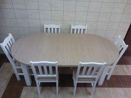 Stół okrągły rozkładany śr 100 cm +3 x 45 wkładki dąb sonoma biały Hit