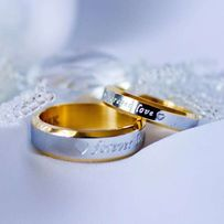 ОРИГИНАЛ! Серебряные парные кольца с позолотой и надписью + КОРОБКА