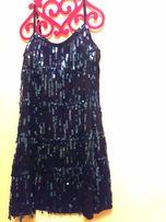 Mini sukienka cekiny frędzle granatowa rozmiar s/m