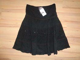 ZARA TRF nowa czarna rozkloszowana spódnica koraliki cekiny cotton r S