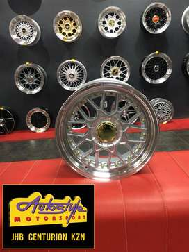 15 inch BSS 4-100 and  4-114 SILVER Alloy wheels, Polished lip, Gold s