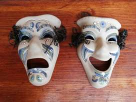 Beautiful ceramic theater faces.