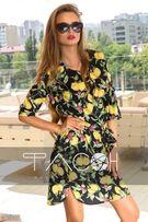 Платье женское шифоновое рукав 3/4 принт лимоны