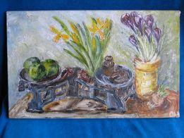 Картина Весенний натюрморт с весами. 40x25 см.холст,масло.