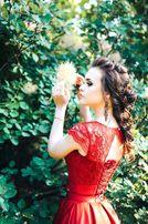 Шикарное выпускное платье цвета марсала