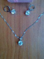 Новый серебряный набор,цепочка,сережки,кулон,серьги,подвеска, серебро