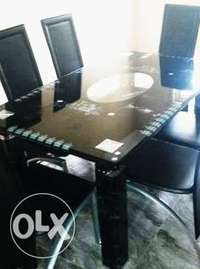 Modern Six Sitter Glass Dining Table & Chairs 0