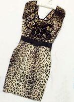 Сатиновое леопардовое платье lipsy з шифоновыми рюшами, 12 размер