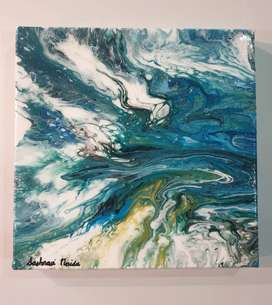 Ocean Themed Acrylic Pour Painting