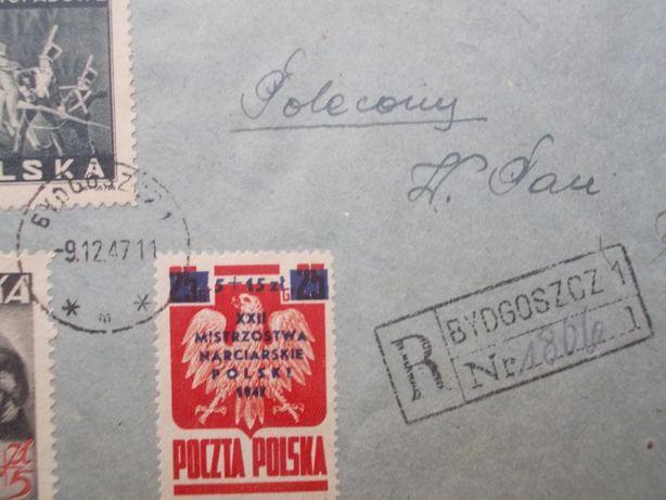 Koperta, tzw. R-ka, z wieloma cennymi znaczkami z 1945 i 1947 roku. Bydgoszcz - image 6