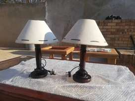 Solid steel & glass table + 2X Tables Lamps + small TV stand