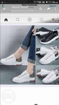 Ladies White Sneakers with Gold Embellishment 0