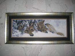 Картина вышивка крестиком Пара волков