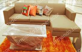 New camel colour fabric corner couch with wooden legs
