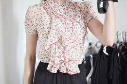 koszula falbanki czereśnie wiśnie falbanka elegancka orsay M 38 bluzka