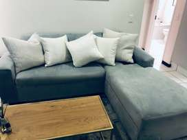 3 seater velvet button L couch