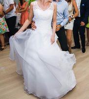 Suknia ślubna jak nowa, biała koronka i organza, buty 38 białe gratis!