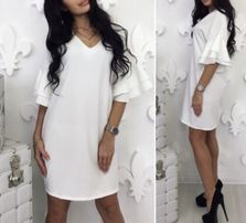 Очень красивое белое платье с воланами / широкими рукавами. Модное.