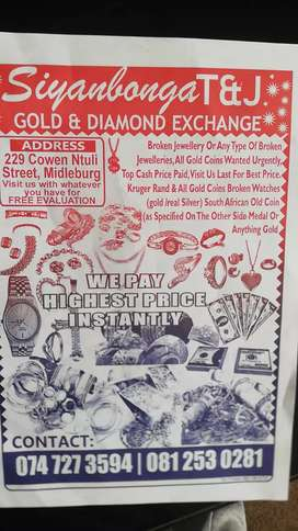 We buy unwanted gold and diamond jewelry. Used and etc