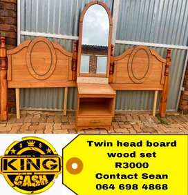Twin wood headboard combo