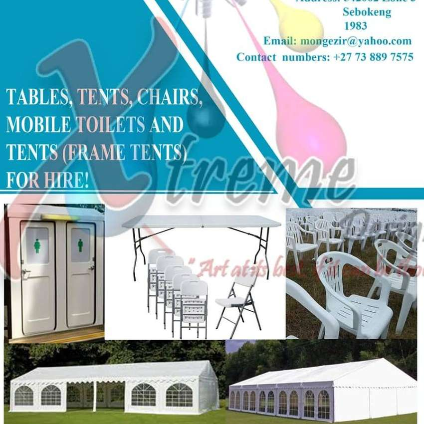 Hiring VIP flushable toilets and frame tents 9x15 0