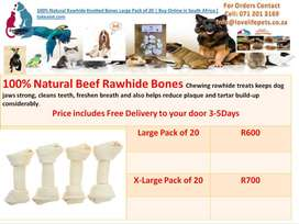 100% Natural Rawhide Knotted Bones