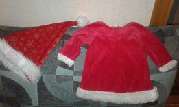 новогоднее платье Санты и колпак