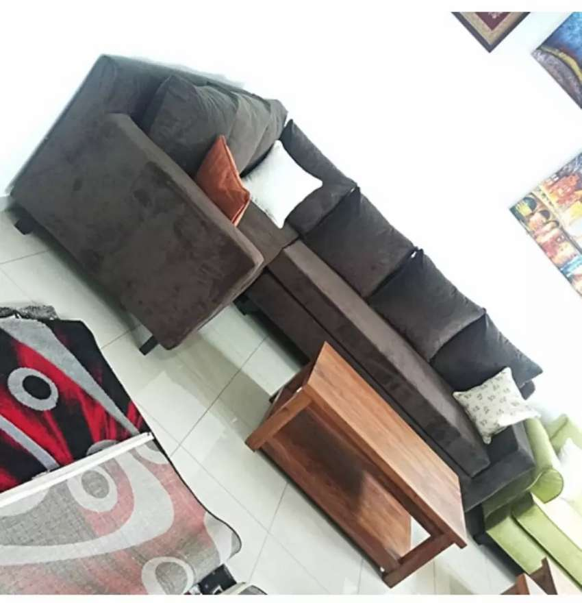 L Sectional Sofa Set 6 Sitter - Brown 0