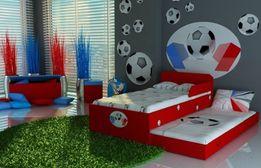 Piętrowe łóżko dla dzieci, chłopców, 2 materace, piłka nożna