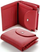 Женский кожаный кошелек ST складной вместительный цвет крсный и brown.