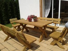 Meble ogrodowe solidne - komplet ławy