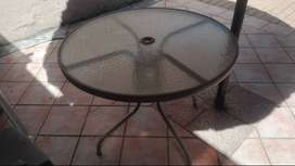 Exterior glass table