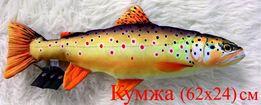 Подушка декоративная-рыбы:форель, кумжа, треска-сувениры подарок для