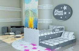 Piętrowe łóżko dla dzieci z napisem i gwiazdkami
