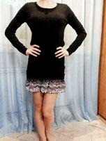 Трикотажное платье с шифоновой юбкой