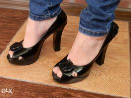 Кожаные женские туфли, черные, размер 35 - 36